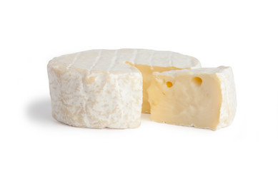 Brie type of cheese. Camembert cheese. Fresh Brie cheese and a slice. Italian, French cheese. Isolated on a white background.
