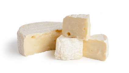 Brie cheesecakes, trisubbles, slices. Fresh cheese, Camemberttes. Isolated on white background.