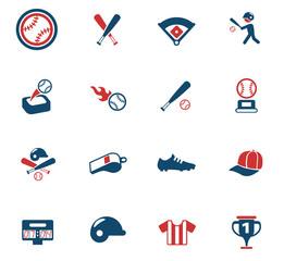 baseball color icon set