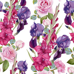 Floral seamless pattern with watercolor iris, gladiolus, roses. Background with bouquets of hand drawn watercolor flowers