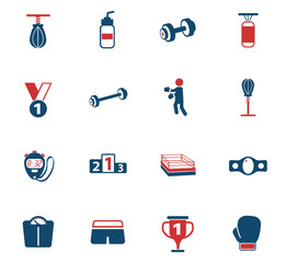 boxing color icon set