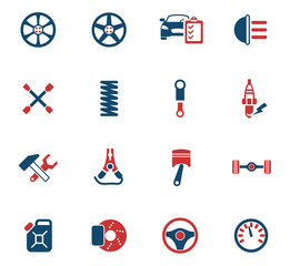 car shop icon set