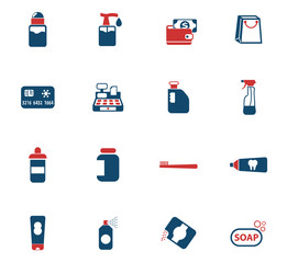 chemicals store icon set