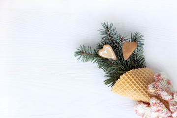 winter bouquet for lovers/ two ginger hearts and a fir branch in a waffle horn with pink mittens