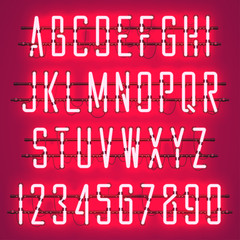 Glowing Red Neon Casual Script Font with uppercase letters from A to Z and digits from 0 to 9 with wires, tubes, brackets and holders. Shining and glowing neon effect. Vector illustration.