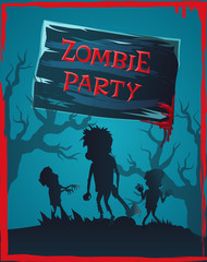 Zombie Party Invitation Vector Illustration