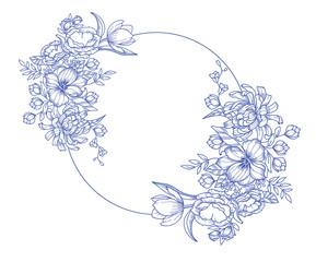 Fleurs bleu illustration déco