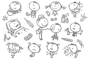 Kids Feeling Unwell, black and white outline