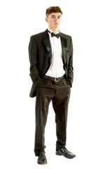 18 year old wearing a tuxedo