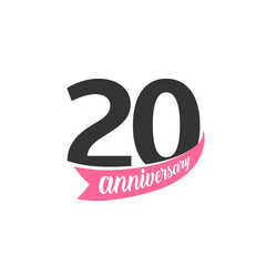 Twentieth Anniversary vector logo. Number 20. Illustration for greeting card, invitation, poster, marriage, commemoration, certificate.