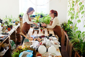 Women's hobby. Mother and daughter botany florists take care of house plants and flowers