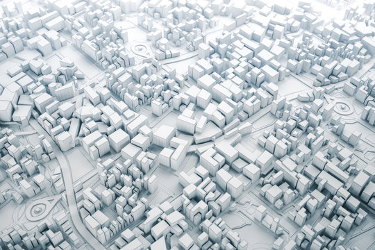 White and line 3D Map of City, travel and tourism planning concept. 3D illustration.