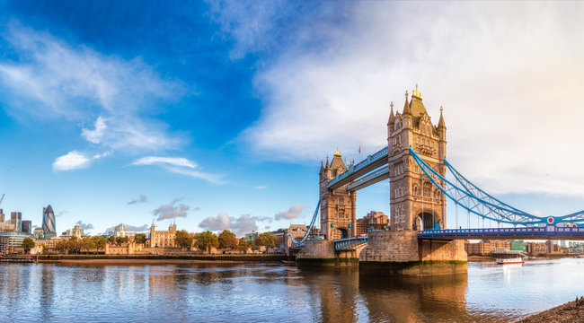 London cityscape panorama with River Thames Tower Bridge and Tower of London in the morning light