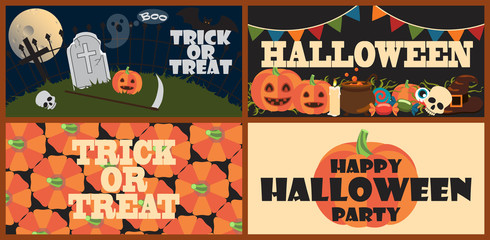 Trick or Treat Set of Posters Vector Illustration
