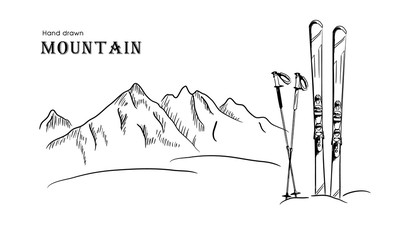 Hand drawn Mountain and ski graphic black white landscape vector illustration