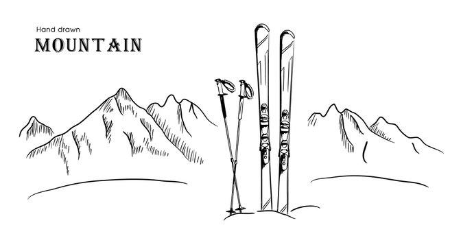 Hand drawn Mountain and ski graphic black white landscape vector illustration