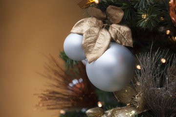 christmas balls with a brown background