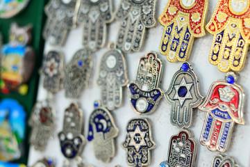 Souvenirs at Jerusalem bazaar, hamsa or khamsa symbol of Judaism