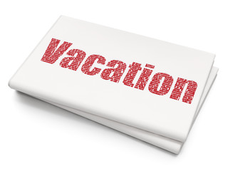 Travel concept: Pixelated red text Vacation on Blank Newspaper background, 3D rendering