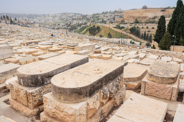 JERUSALEM, ISRAEL - APRIL 2017: Jewish Cemetery on the Mount of Olives, including the Silwan necropolis is the most ancient cemetery in Jerusalem.