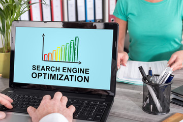 Search engine optimization concept on a laptop