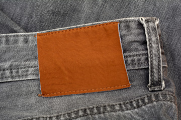 Closeup of Jeans Pent Leather Tag with copy space