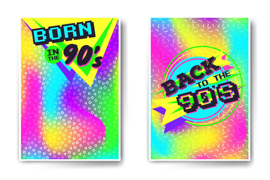 Vector poster templates back to the 90's and born in the nineties. Crazy vivid colors templates with holographic foil and geometric pattern on background. Made using vector mesh, easy to modify