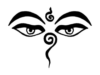 Peaceful eyes of Buddha, Tibetan Buddhist meditation symbol, represent universal wisdom and omniscience. Handmade vector ink painting.