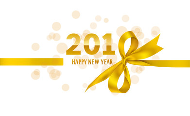 Happy New Year 2018 template design. Vector background with golden bow and ribbon.