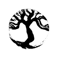 Tree of life Bodhi, Buddhist symbol. Handmade vector ink painting.