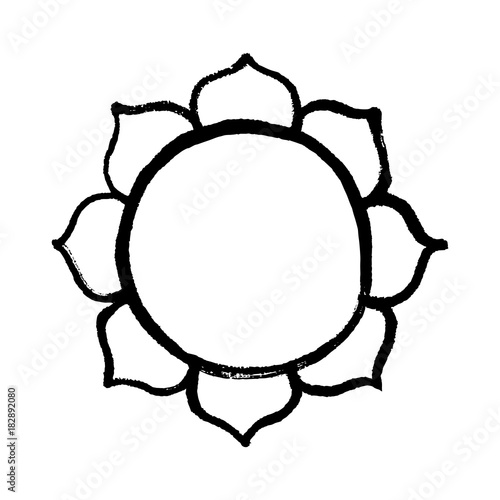 Lotus Flower Buddhist Symbol Handmade Vector Ink Painting Stock