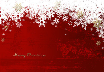 Merry Christmas with lots of snowflakes on red background.