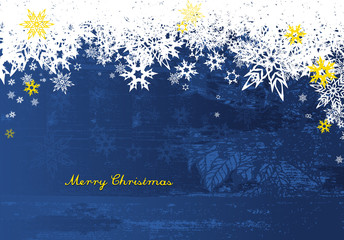 Merry Christmas with lots of snowflakes on blue background.