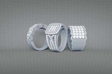 Jewelry rings with diamonds 3D rendering in wireframe mesh