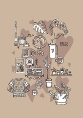Vector illustration with Hygge concept.