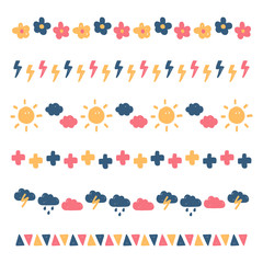 Set, collection of cute colorful doodle borders isolated on white background.