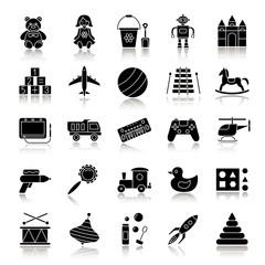 Kids toys drop shadow black glyph icons set