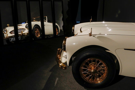 "A 1958 Austin-Healey 100-Six ""Goldie"" Roadster is displayed during a media preview for the ""RM Sotheby's Icons"" sale at Sotheby's in New York"