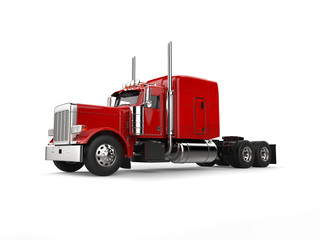 Raging red classic 18 wheeler big truck - beauty shot