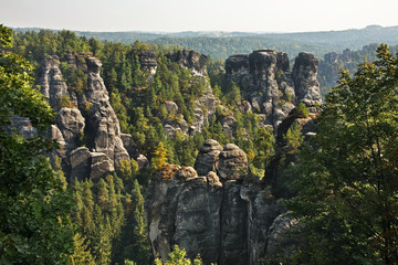 Bastei at Elbe sandstone mountains near Rathen village. Saxon Switzerland National Park. Germany