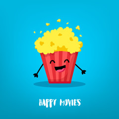Cartoon bucket of popcorn laughing. Flat style. Vector card.