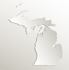 Michigan map card paper 3D natural vector