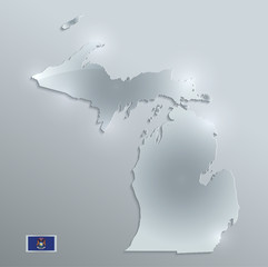 Michigan map flag glass card paper 3D vector