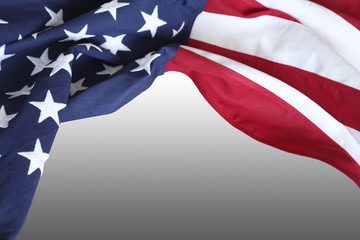 USA flag on grey background. Copy space