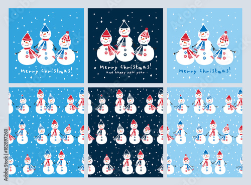 set of christmas cards and seamless patterns with cute snowmen background for gift wrap