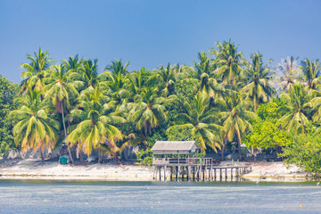 Tropical scene. Wooden bamboo bungalow and blue sea and palm trees