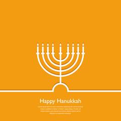 Happy Hanukkah. Holiday religion, jewish festival of Lights. Hanukkah menorah outline greeting card, template, banner. Minimal vector illustration. Flat design.