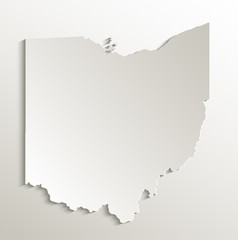 Ohio map card paper 3D natural vector