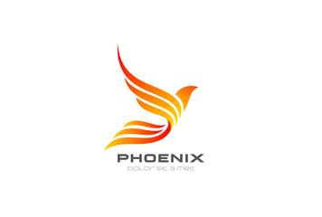 Flying Phoenix Fire Bird abstract Logo vector. Dove Eagle icon