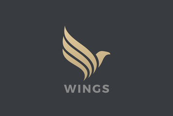 Flying Eagle Bird Wings abstract Logo vector. Falcon Hawk icon